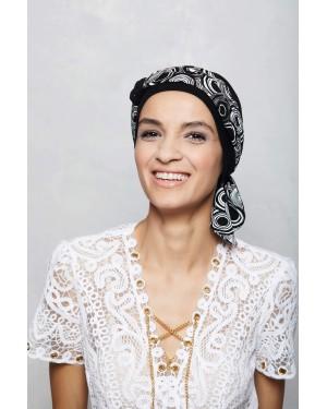 New Lucia 01- черен тюрбан с кърпа
